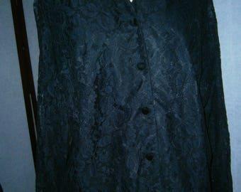 Women's Black Lace Blouse - Retro 70's
