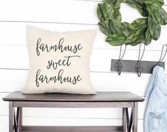 FARMHOUSE SWEET FARMHOUSE   farmhouse pillows, home sweet farmhouse, farmhouse style gift, fixer upper decor Joanna Gaines fixer upper style