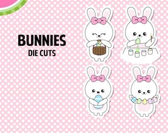 Kawaii BUNNIES Die Cuts   Fun, Cute, Adorable   4 Die-Cut Stickers   DC002