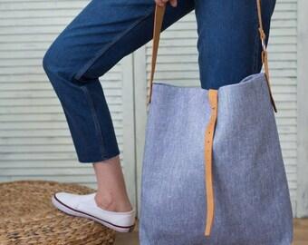 Blue Linen Bag, Linen Tote Bag,  Shoulder Bag, Cotton Bag, Leather Bag, Casual Day Bag, Shopping Linen Bag, Blue Tote Bag