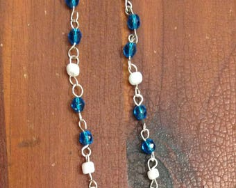 Blue And White Long Dangles