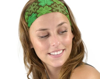 St Patrick's Day Lucky Four Leaf Clovers in Green Soft Headband One Size Women