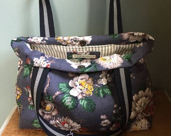 Vintage floral barkcloth fabric carry bag - grey/white/green