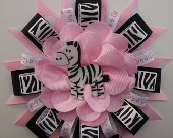 Baby Pink & Zebra Print Baby Shower Mommy to Be Corsage