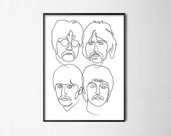 Beatles Conintuous Line Drawing Portraits - Fab Four Wall Art Poster // Music Office Print // Beatlemania Home Decor