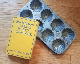 Cooking Pair, The Boston Cooking School Cookbook by Fannie Merritt Farmer, Vintage 1945 Edition, Ekco Baking Tin with 8 Cups, 2-Piece Set