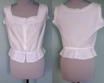 Victorian to Edwardian white antique camisole corset cover handmade cotton pintuck yoke Aprx UK 10 12 US 6 US 8 Vintage blouse 36 inch bust