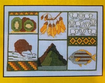 New Zealand Cross Stitch - Kiwi and Kowhai pattern designed by Cherry Parker