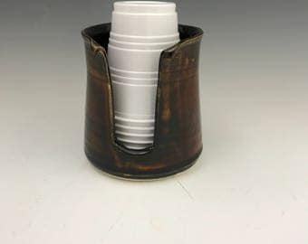 Gloss Rootbeer Kitchen Cup Holder -5 Ounce Cup Dispenser - Pottery Cup Holder - Ceramic Kitchen Cup Holder - Handmade