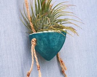 Air plant mini hanging pots/ blue / ceramic planter/ tillandsia/ porcelain/ home decor/ artful living/ boho living / sustainable gift/ small