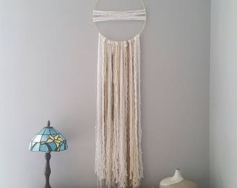 Dream Catcher, Bohemian, Gold and White, Yarn Tapestry, Wall Hanging