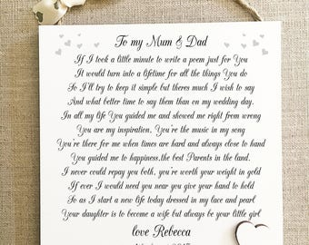 Thank You Mum Dad Wedding Gift PersonalisedParents Plaque Bride Groom W236