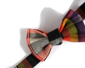 Mustard  Plaid Bow Ties for Boys - Purple Bow Tie - Baby Bow Tie - Orange Tie for Wedding - Designer Bow Ties for Kids - Pre-Tied Bow Tie