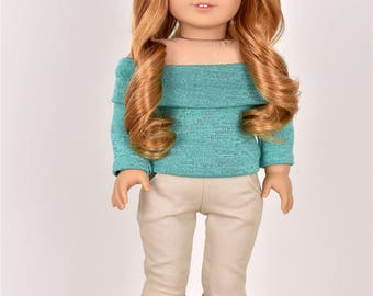 Long Sleeve Off The Shoulder Sweater 18 inch doll clothes COLOR  Sea Green