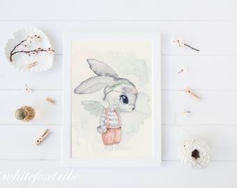 Wall Art, Bunny Nursery Art, Woodland Nursery, Kids Scandinavian Art Print, Art Print, Bunny Art , Animal Nursery Decor, Boys Nursery Art