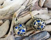 Harmony Ball Earrings Antique Gold Bronze Blue Chiming Bell Bells Magical Earring Ear Ring Rings Earing Magickal Magic Magick Boho Gypsy