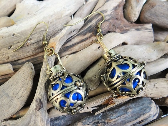 Ravenclaw House Harry Potter Inspired  Harmony Ball Earrings Antique Gold Blue Chiming Bell Bells Magical Earring Ear Ring Rings Earing