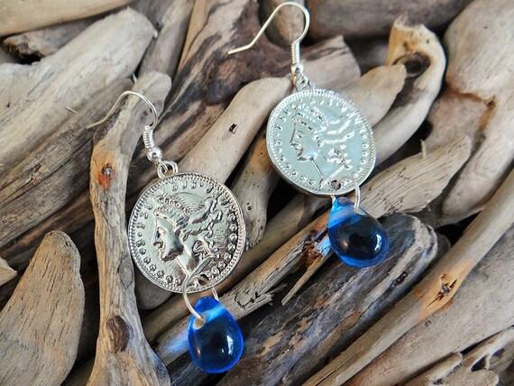 Gypsy Coin Earrings Blue Glass Teardrop Boho Ear Ring Rings Earings Hippie Goddess Bohemian Coins Money Tarot Fortune Teller Telling