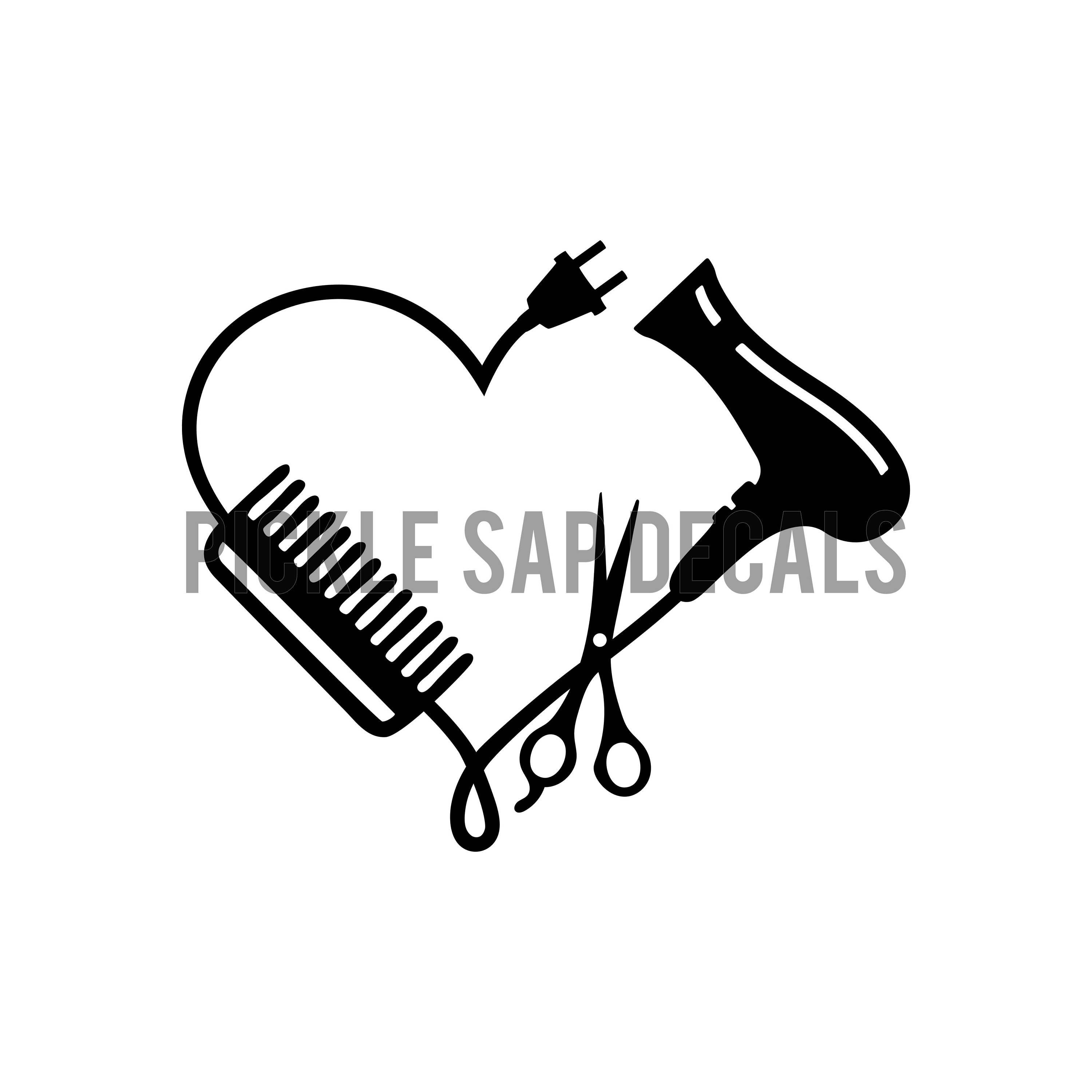 hairdresser stylist cosmetic scissors comb blow dryer heart salon hair dryer clipart hair dryer clipart black and white