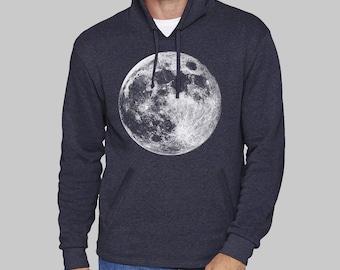 Navy Blue Mens Pullover Hoodie, Full Moon, moon hoodie, sweatshirt for men, hoodies, sweatshirt, fleece, graphic hoodie