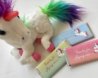 Unicorn party favors, unicorn birthday party, personalized candy bar wrappers, flying unicorn, rainbow party, girls birthday favours, 24 ct.