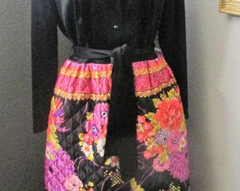 Vintage 70s Leisure Lady Quilted Lounging Wear Hostess Dress Maxi Size M/L