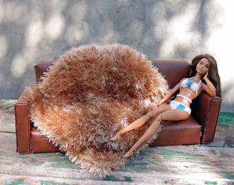 Beige dollhouse rug 1:6 scale furry rug 12 inch doll blanket Barbie grass rug Playscale diorama furniture Beige doll blanket Floor mat