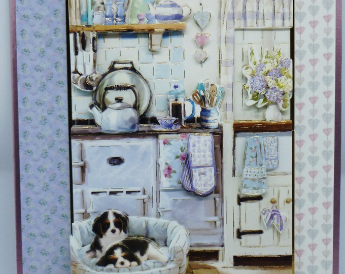 3 D Decoupage Card, Country Kitchen, Puppies in a Basket, Birthday Card, Greeting Card, Female, Any Age, Mum, Sister, Daughter, Aunt, Niece