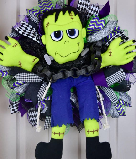 Frankenstein Purple Black and Green Ruffle Mesh Halloween Wreath; Large Fall Wreath; Large Halloween Wreath; Whimsical Halloween Door Decor