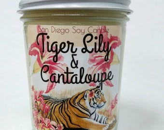 Tiger Lily & Cantaloupe soy candle tiger lover gift tiger lily tiger lilies gift for her under 20 animal gift tiger head Easter gift