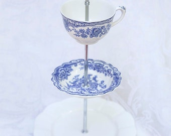 Charming Blue and White Three Tier Stand, Cake stand, Tiered Stand, Bridal Stand, Cupcake stand, Dessert Stand, Cookie Stand, Jewelry Stand