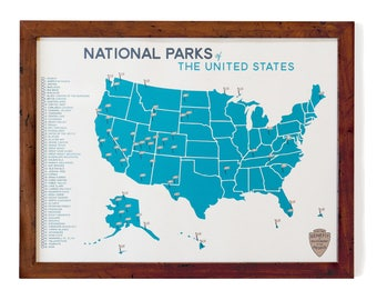 "National Parks 18x24"" Map & Checklist"