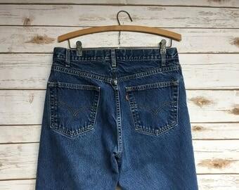 80's Levi's 505 denim jeans Vintage Levis Regular fit Straight Fit Made in Canada faded denim high waist boyfriend jeans - 32 x 28