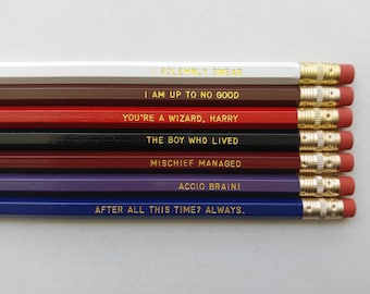 Harry Potter Gift Engraved Pencil Set Gold Foil Pencil Set Engraved Pencils After All This Time Always Gift for College Student Gift for Him
