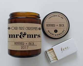 Our First Christmas as Mr and Mrs Candle Newlywed Christmas Candle Gift for Couple Holiday Gift Couples First Christmas Personalized Candle
