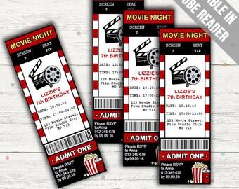 Movie Party Invitation. Editable PDF. Printable. Instant Download.