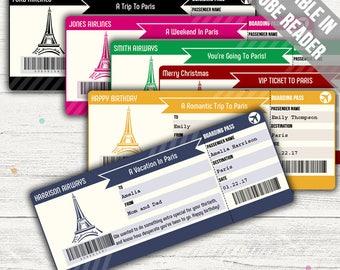 Surprise Trip To Paris (Surprise Trip Boarding Pass Template). Six Colors. Editable. Instant Download.