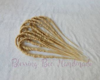 Blonde double ended dreads, synthetic dreads, braid in dread accent kit, hair extensions, dreadlock extensions, festival wear, short dreads