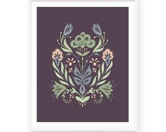 Mirrored Bouquet Art Print | 8x10 | Folk Art, Pink and Purple, Folksy, Flower Bouquet, Symmetrical, Hand-drawn, Playful, Whimsical, Nordic