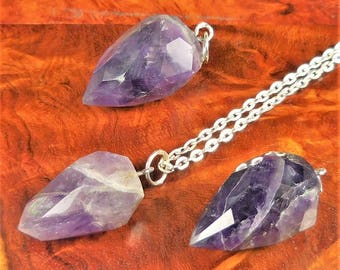 Amethyst Necklace - Faceted Gemstone Point Pendulum Pendant - Purple Teardrop Crystal Earrings (B51) Healing Crystals and Stones Jewelry