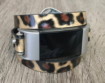 Leopard Print Vegan Leather Bracelet for Fitbit Charge 2 Fitness Activity Tracker Handmade Multi Wrap Adjustable Fitbit Charge 2 Band