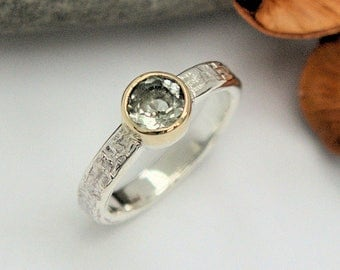 Green Beryl silver and gold  solitaire ring bezel setting wicker textured band