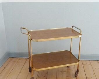 Vintage bar cart, trolley, bar cart, tea cart, brass bar cart, 60s, serving cart,.