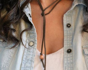 Brown Suede Necklace, Wood Beads, Simple Necklace, For Her, Boho Necklace, Boho Chic, Rustic Necklace