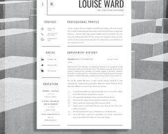 "Resume Template | CV Template + Cover Letter + Resume Advice For MS Word | Instant Digital Download | Mac or PC | ""Aldgate Resume Template"""