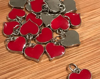 """20pcs Red Heart Charms 1/2"""" x 1/2"""" inch O-Rings are Included!"""