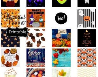Mini Happy Planner Sticker Printable Fall October Halloween Happy Planner Printable Stickers