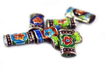 Cloisonne Rectangle Multi-Color Flower Beads 18x10mm - Package of 7 pieces