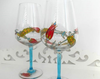 2 wine glasses with Turkish design Set of 2 personalised wine glasses Handpainted glasse Gifts for couples Gift for mother For wine lovers