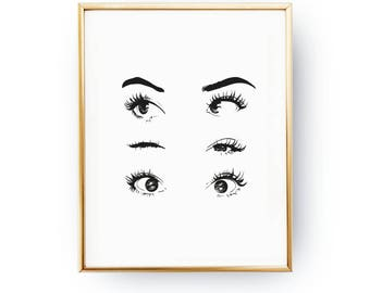 Eyes Wink Print, Makeup Art, Makeup Illustration, Illustration Poster, Fashion Poster, Wardrobe Art, Home Decor, Eyelashes, Bedroom Decor